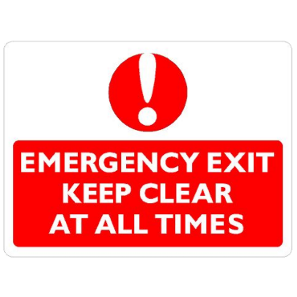 Emergency Exit - Keep clear at all times (with graphic)