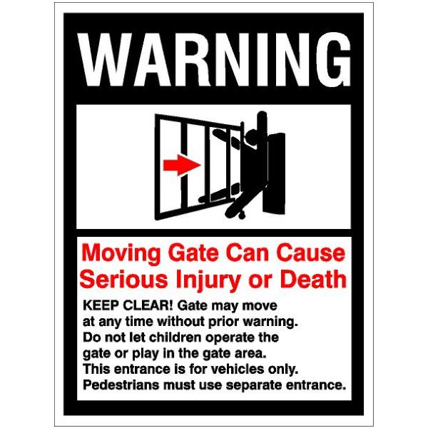 Warning Gate Can Cause Injury