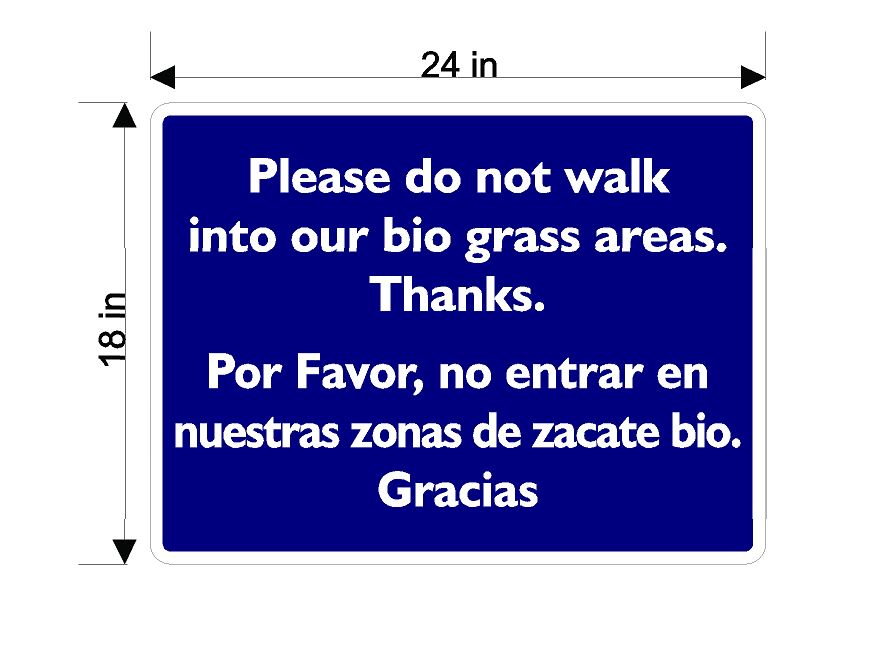 Do Not Walk on Bio Grass (Blue Background)