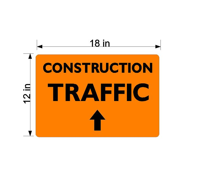 Construction Traffic - with arrow